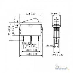 Chave Gangorra L/D 3 Terminais Retangular C/ LED Vermelha